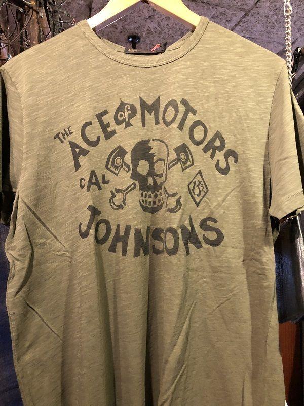 画像1: Johnson Motors'Inc ACE MOTORS S/S tee ジョンソンモータース半袖Tシャツ ARMY GREEN