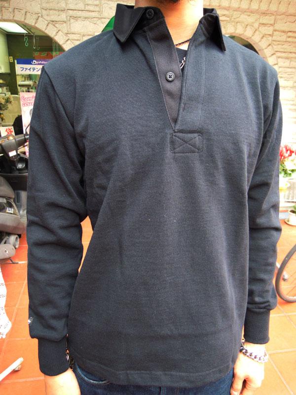 画像1: BARBARIANバーバリアン ラガーシャツ BLACK